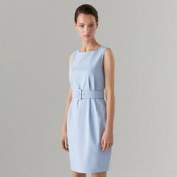 5ad0ceb564 Sukienka niebieska Mohito midi dopasowana z okrągłym dekoltem