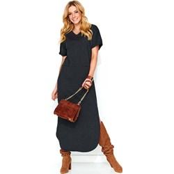 27f7148a15 Sukienka Makadamia dresowa czarna z krótkim rękawem midi na spacer