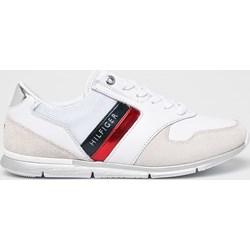 4a4ea47bc46d5 Buty sportowe damskie Tommy Hilfiger na fitness płaskie białe skórzane  sznurowane młodzieżowe
