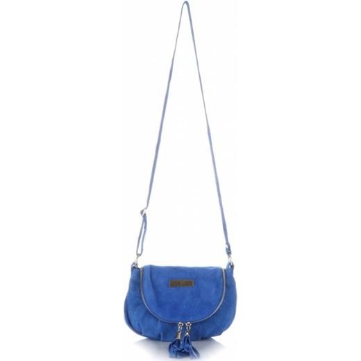 5ba59ef0da78b Małe Torebki Skórzane Listonoszki Vittoria Gotti wykonane w całości z Zamszu  Naturalnego Kobaltowa niebieski PaniTorbalska wyprzedaż w Domodi