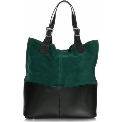 c4be41559090f Ekskluzywna Włoska Torebka Skórzana wykonana z najwyższej jakości skóry + KOSMETYCZKA  Zielona (kolory) Genuine Leather czarny PaniTorbalska w Domodi
