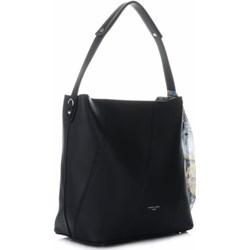 3fe948468ba23 Shopper bag David Jones czarna na ramię ze skóry ekologicznej mieszcząca a5