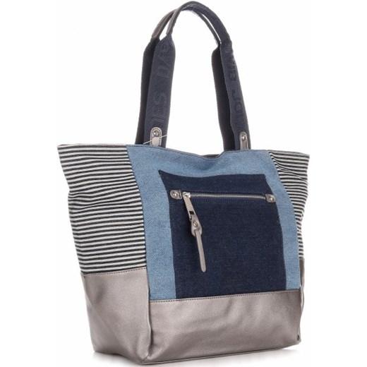 79d8e58e20b3e Torba Damska David Jones typu Shopper Bag XXL Jeansowa niebieski  PaniTorbalska w Domodi