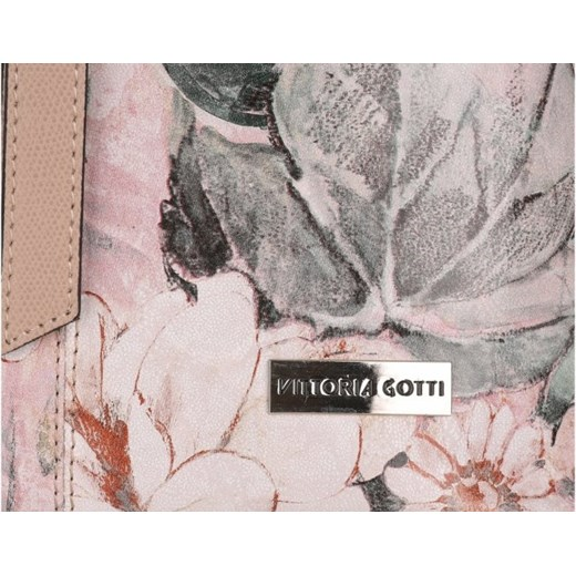 4f73832062857 Modna Torebka Listonoszka Skórzana XL renomowanej firmy Vittoria Gotti we wzory  Kwiatów Multikolor Róż (kolory) bialy Genuine Leather PaniTorbalska w Domodi