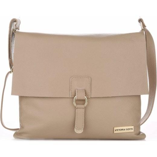a758e62aa6837 VITTORIA GOTTI Made in Italy Ekskluzywne Torebki Listonoszki Skórzane  Ziemista (kolory) bezowy Genuine Leather