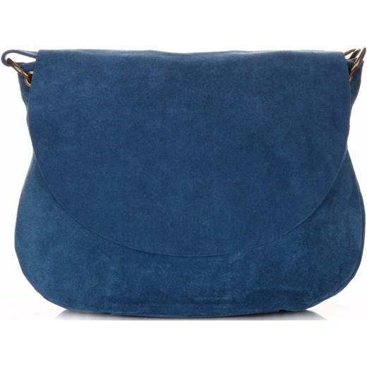 c6d668b490843 Uniwersalna Torebka Skórzana Listonoszka Genuine Leather Niebieska (kolory) granatowy  PaniTorbalska