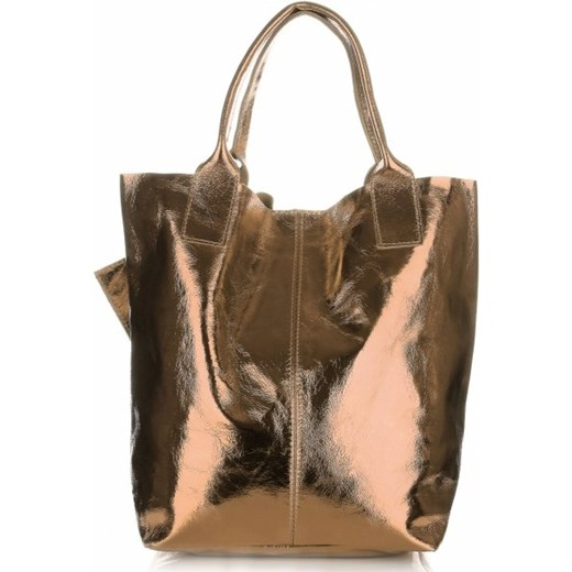 9acacb6d46352 Oryginalne Torebki Skórzane ShopperBag Genuine Leather Błysk Szampan  (kolory) PaniTorbalska 1