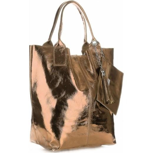 b6816315d9b21 Oryginalne Torebki Skórzane ShopperBag Genuine Leather Błysk Szampan  (kolory) PaniTorbalska 1