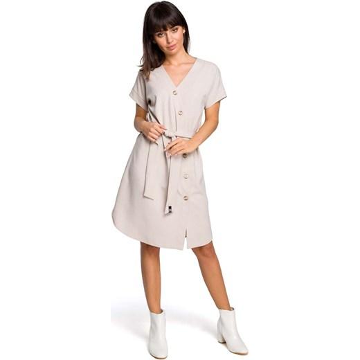 87298f46bb Sukienka beżowa Moe z krótkim rękawem szmizjerka gładka w Domodi
