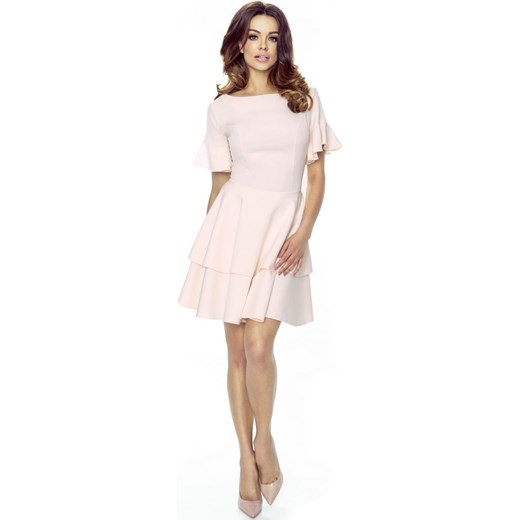 24a3f90b32 Sukienka z krótkim rękawem z okrągłym dekoltem różowa mini w Domodi