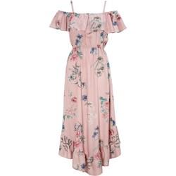 f66cf60e917e6f Sukienka Cellbes z dekoltem typu hiszpanka na spacer asymetryczna midi w  kwiaty z krótkim rękawem