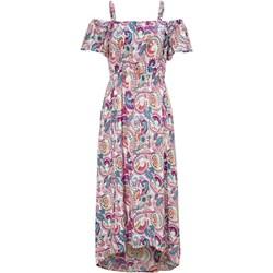 87cf1e7233491e Sukienka Cellbes midi w abstrakcyjnym wzorze asymetryczna z krótkim rękawem