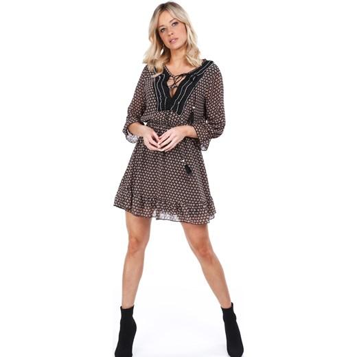 39b1ca0b Sukienka Fasardi brązowa mini z żabotem na wiosnę