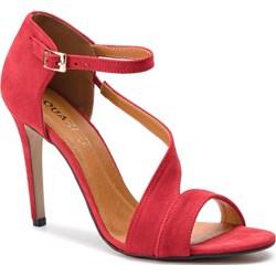 77370659 Sandały damskie czerwone Quazi zamszowe gładkie na wysokim obcasie z klamrą