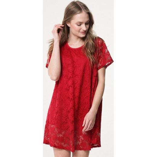 3da83a5ad7 Sukienka Born2be oversize z okrągłym dekoltem mini koronkowa w Domodi