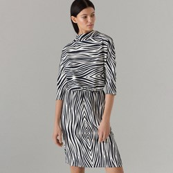 f976973edf99 Sukienka szara Mohito w zwierzęcy wzór midi z długim rękawem