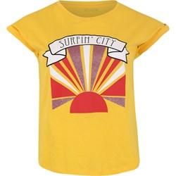 7929ac9c0081 Bluzka damska żółta Only Carmakoma młodzieżowa w nadruki z krótkimi rękawami