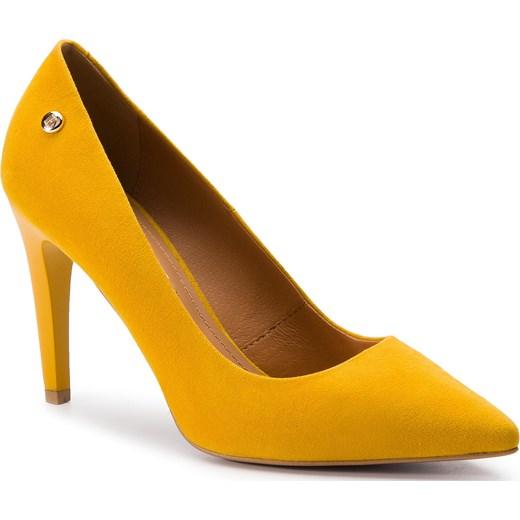 e58f6f037f7af Czółenka Szydłowski żółte na szpilce eleganckie w noskiem w szpic w ...
