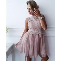 902bd13e99 Sukienka mini z poliestru bez rękawów bez wzorów
