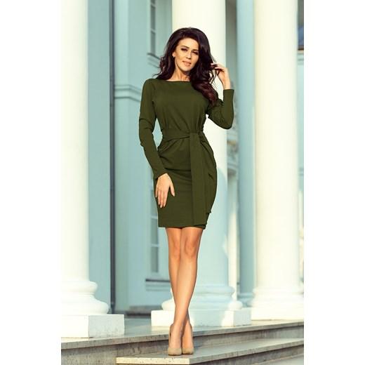 c4912c5319 ... Sukienka biznesowa bawełniana z okrągłym dekoltem z długim rękawem ...
