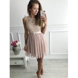 f01584958b Sukienka midi elegancka z okrągłym dekoltem bez rękawów prosta na wesele