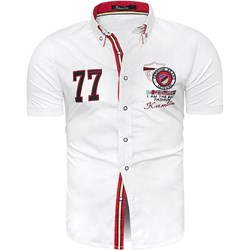 dfd077525dde92 Koszula męska Risardi z krótkim rękawem biała z kołnierzykiem button down