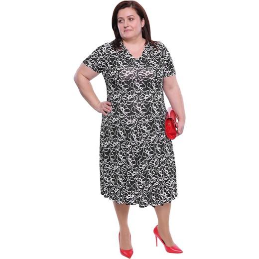 76dfb0b74dc Sukienka w abstrakcyjnym wzorze z elastanu dla puszystych na spacer ...