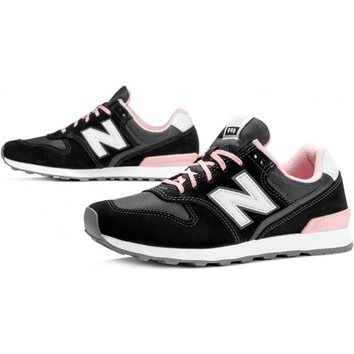 90f6aa156c6480 New Balance buty sportowe damskie w stylu casual z zamszu czarne na  płaskiej podeszwie