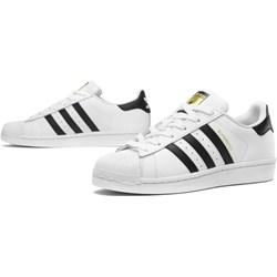 125ed52821722 Trampki damskie Adidas superstar sportowe sznurowane białe skórzane płaskie  bez wzorów1