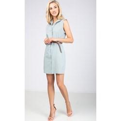 5f329c3976 Sukienka niebieska Zoio koszulowa bez rękawów w paski
