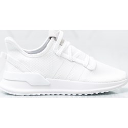 0967988e Buty sportowe damskie białe Adidas wiązane gładkie na płaskiej podeszwie