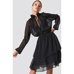 ea21cad2ac Sukienka czarna NA-KD Boho z długim rękawem trapezowa