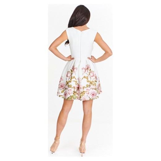 a721c0f3f5 Sukienka Betty M na sylwestra biała w kwiaty  Sukienka Betty M mini ...