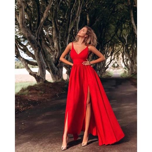 65eea74ed1 Sukienka czerwona Emo Sukienki elegancka z dekoltem v maxi karnawałowa na  bal na ramiączkach