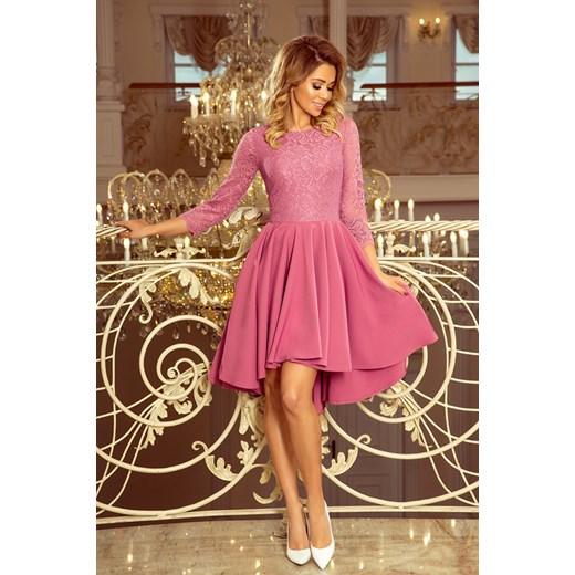 5b49a207e1 Sukienka różowa Saf na bal koronkowa asymetryczna z długim rękawem na wesele