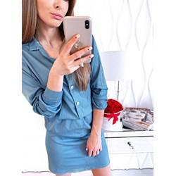 c0105738 Sukienka Magmac jesienna koszulowa na co dzień z dekoltem v midi z długim  rękawem