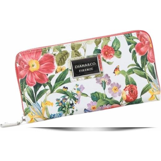 b6a885b568f44 Modny Portfel Damski Diana Co Firenze wzór Kwiatów Czerwony czarny  PaniTorbalska