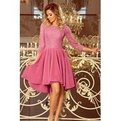 989882df Sukienka różowa Numoco elegancka asymetryczna z dekoltem w łódkę na wesele  midi
