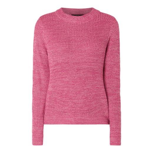 8f09b65ca2d3f9 Sweter damski różowy Vero Moda z okrągłym dekoltem bez wzorów w Domodi