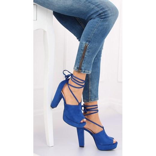 Sandały damskie na wysokim obcasie zamszowe bez wzorów eleganckie Buty Damskie DH niebieski Sandały damskie KAFP
