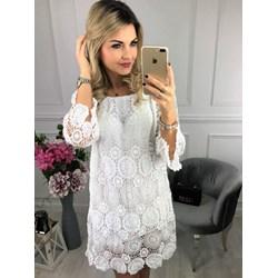 d92e12088e Sukienka koronkowa biała casual z długim rękawem z okrągłym dekoltem mini  na plażę