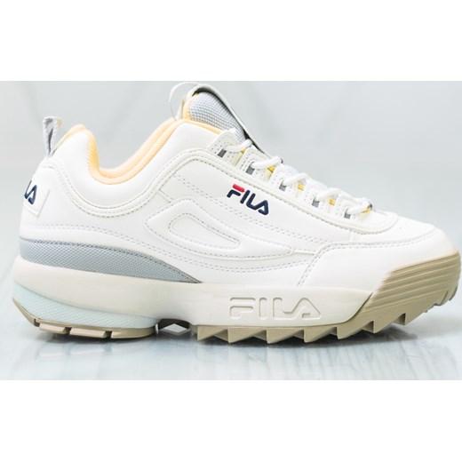 Białe sneakersy damskie Fila wiązane sportowe gładkie www
