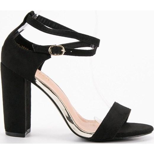 1323af31aac18 Sandały damskie Vinceza eleganckie; Vinceza sandały damskie czarne gładkie  na wysokim obcasie z klamrą ...