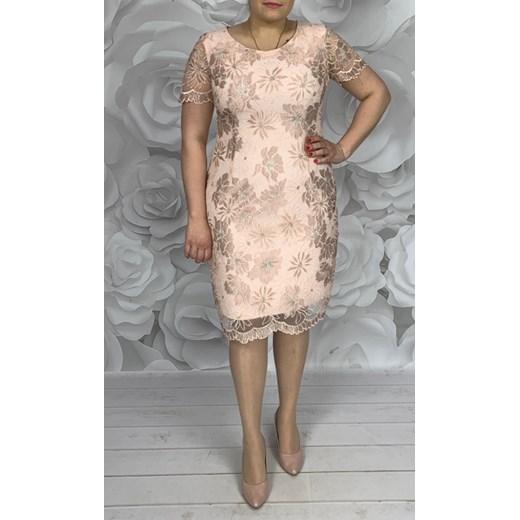 10b24838be Wizytowa pudrowa sukienka z gipiury