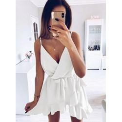 e7c5ff063d Pakuten sukienka biała bez wzorów mini na wieczór