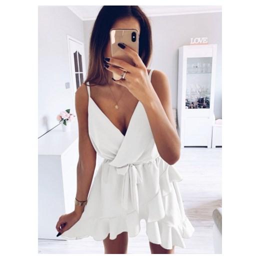 cfc6942263 Pakuten sukienka biała bez wzorów mini na wieczór w Domodi