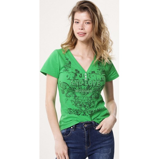 594d5e0a86 Bluzka damska Born2be z krótkim rękawem casual z napisami w Domodi