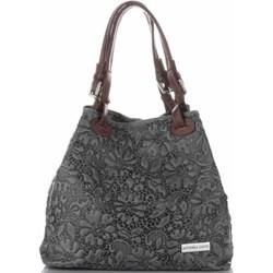 7c0c31bff8ecb2 Shopper bag szara Vittoria Gotti na ramię średnia z tłoczeniem skórzana