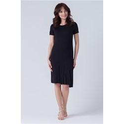 6d4a54ab6f Sukienka gładka czarna z krótkim rękawem na spotkanie biznesowe