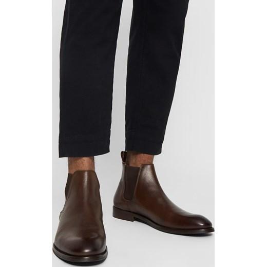 ed0b6689fa080 Buty zimowe męskie Bianco bez zapięcia skórzane brązowe eleganckie w ...